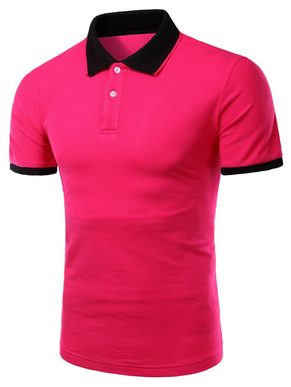 Men's Turn-down Collar Solid  Color Short Sleeves Polo T-Shirt - ROSE L