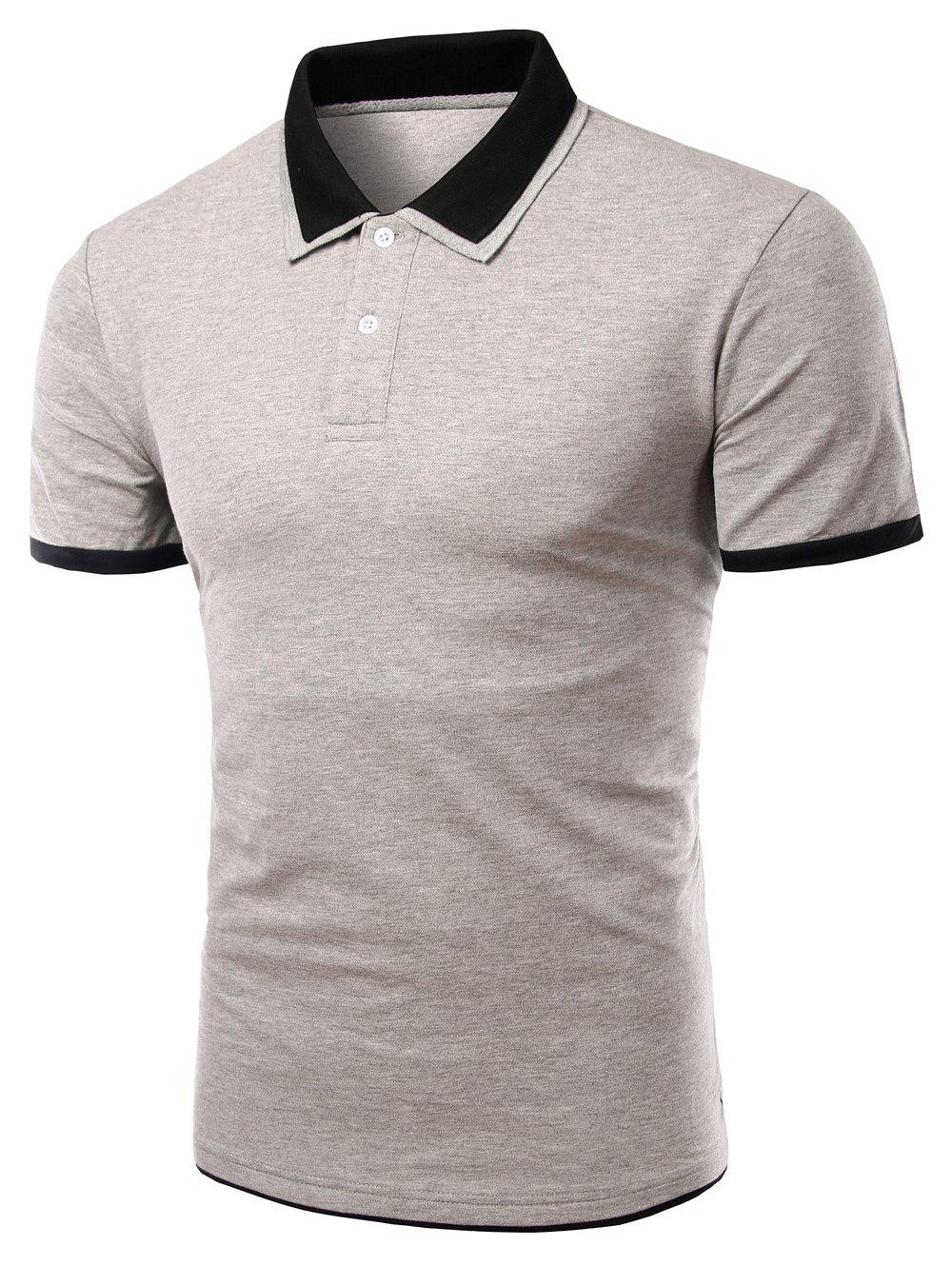 Men's Turn-down Collar Solid  Color Short Sleeves Polo T-Shirt - GRAY L