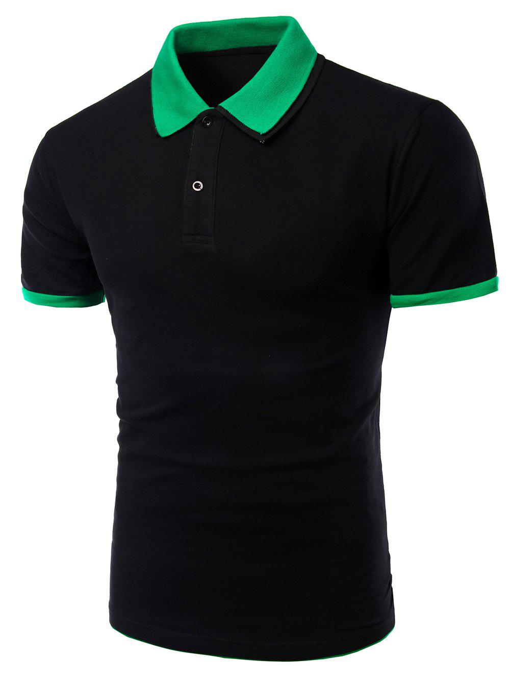 Men's Turn-down Collar Solid  Color Short Sleeves Polo T-Shirt - BLACK/GREEN L