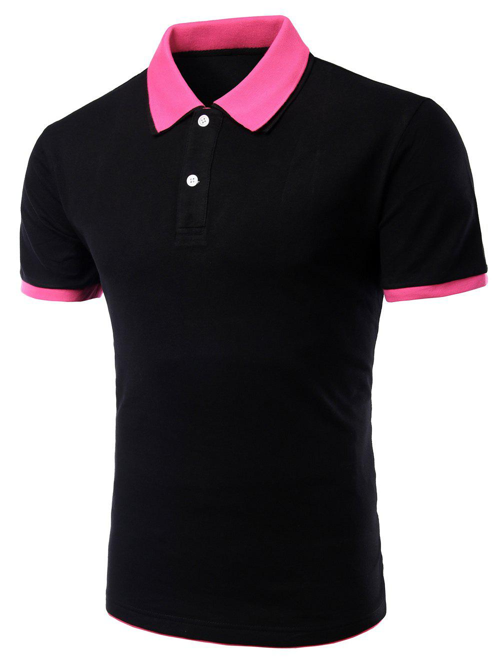 Men's Turn-down Collar Solid  Color Short Sleeves Polo T-Shirt - BLACK/ROSE RED 2XL