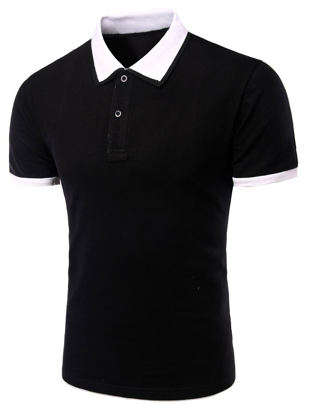 Men's Turn-down Collar Solid  Color Short Sleeves Polo T-Shirt - WHITE/BLACK XL