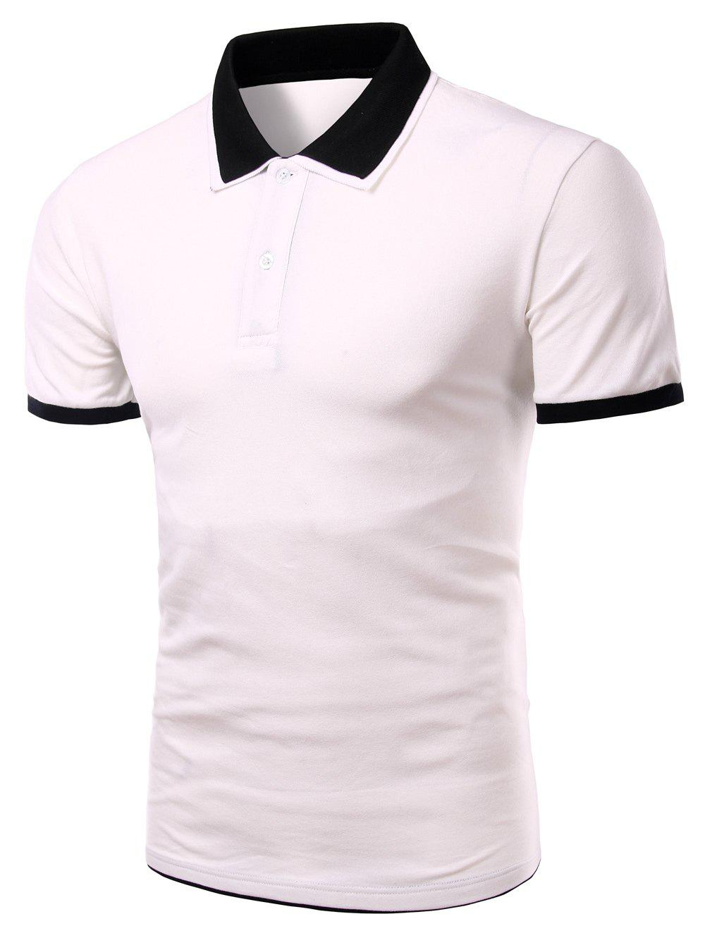 Men's Turn-down Collar Solid  Color Short Sleeves Polo T-Shirt - WHITE M