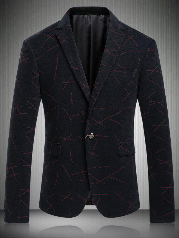 Casual Turn-Down Collar Single-Breasted Line Print Men's Long Sleeve Blazer - RED 3XL