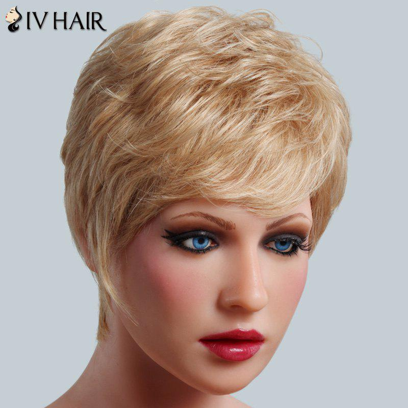 Bouffant Wave Human Hair Stunning Short Siv Hair Women's Capless Wig - BLONDE