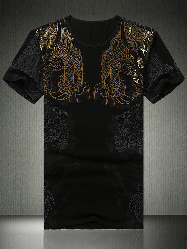3D Dragons Print Round Neck Short Sleeve Men's T-Shirt - BLACK 2XL