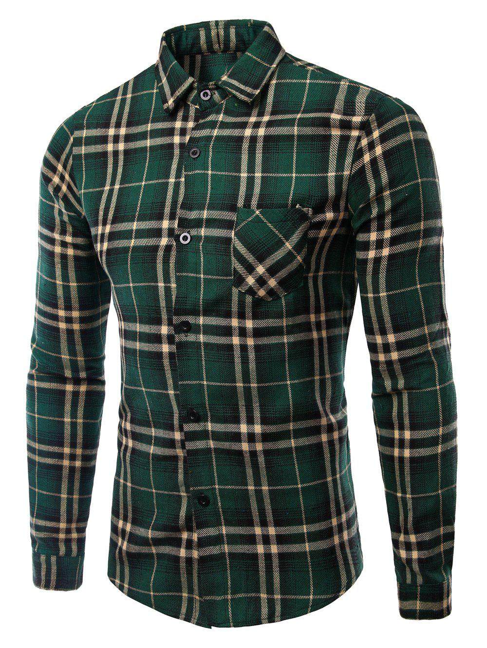 Men's Turn-Down Collar Pocket Checked Pattern Long Sleeves Shirt