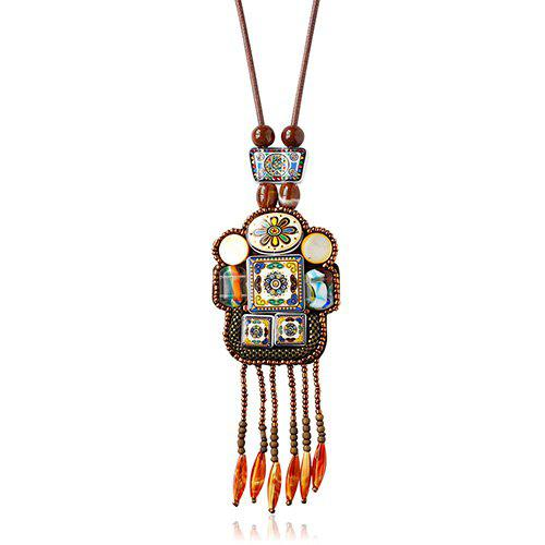 Robot Shape Beads Faux Gem Pendant Necklace - GOLD BROWN