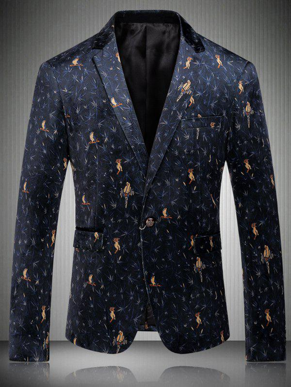 Turn-Down Collar Single-Breasted Birds Print Long Sleeve Men' s Blazer