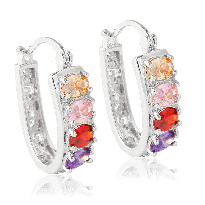 Pair of Graceful Colored Rhinestone Hollow Out Alloy Hoop Earrings For Women
