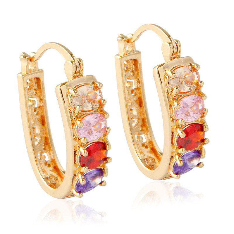 Pair of Hollow Out Rhinestone Alloy Hoop Earrings q and q m128 003