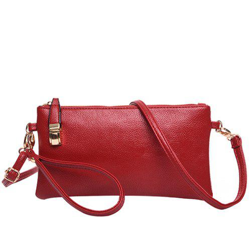 Casual Metal and Solid Colour Design Women's Clutch Bag - WINE RED