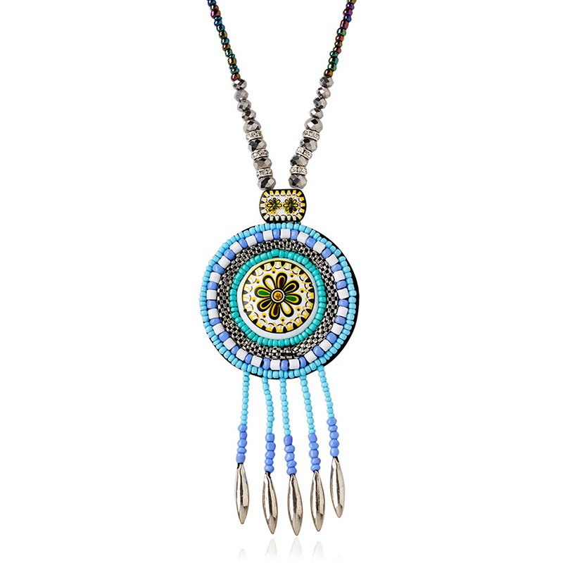 Faux Turquoise Bead Flower Tassel Pendant NecklaceJewelry<br><br><br>Color: WATER BLUE