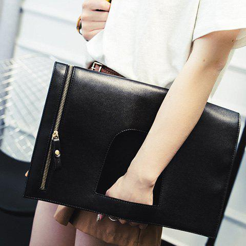 Trendy PU Leather and Zip Design Women's Clutch Bag - BLACK
