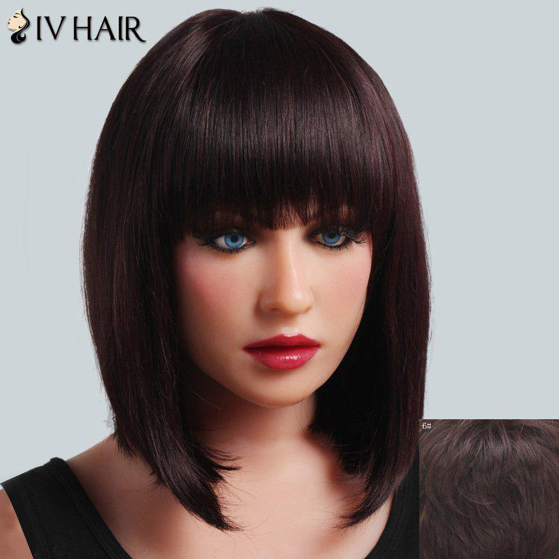 Fashionable Straight Full Bang Siv Hair Medium Women's Capless Real Human Hair Wig - MEDIUM BROWN