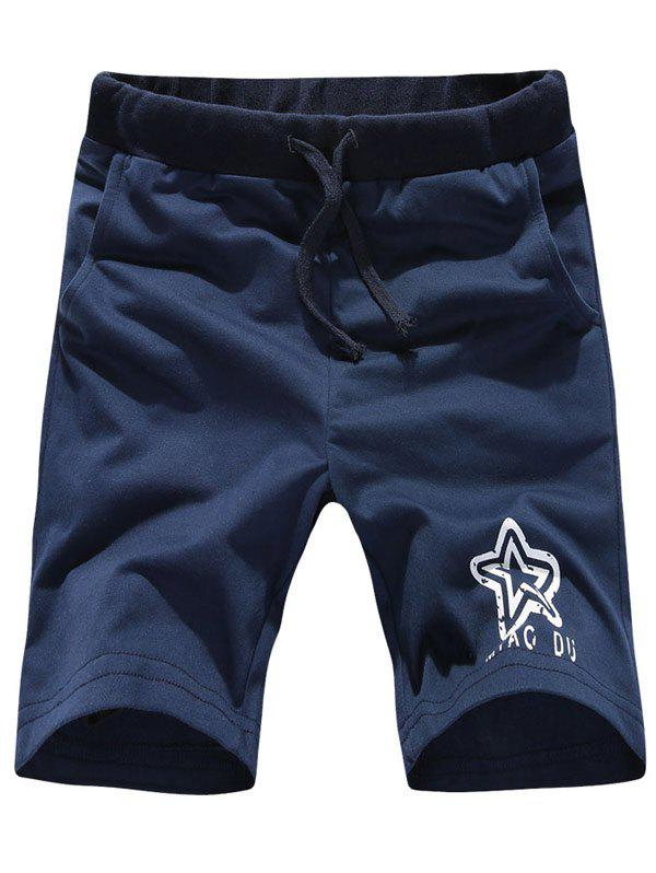 Simple Lace-Up Letters Star Print Men's Straight Leg Shorts - CADETBLUE M