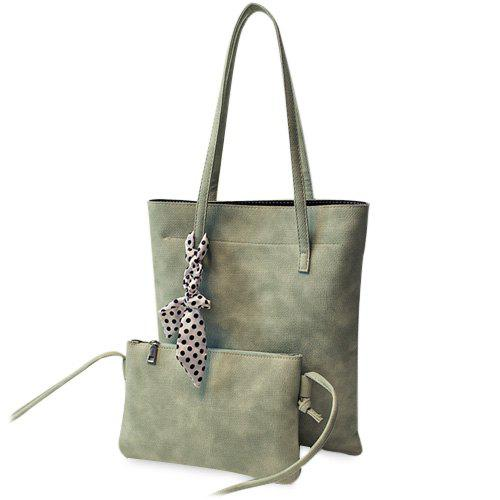 Simple Solid Color and PU Leather Design Women's Shoulder Bag - GREEN