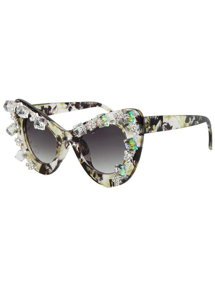 Chic Rhinestone Flower Pattern Cat Eye Sunglasses For Women - LIGHT YELLOW