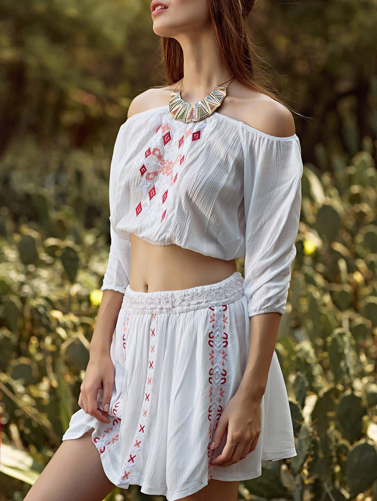 Stylish Off The Shoulder Embroidery Women's Two Piece Dress - WHITE L