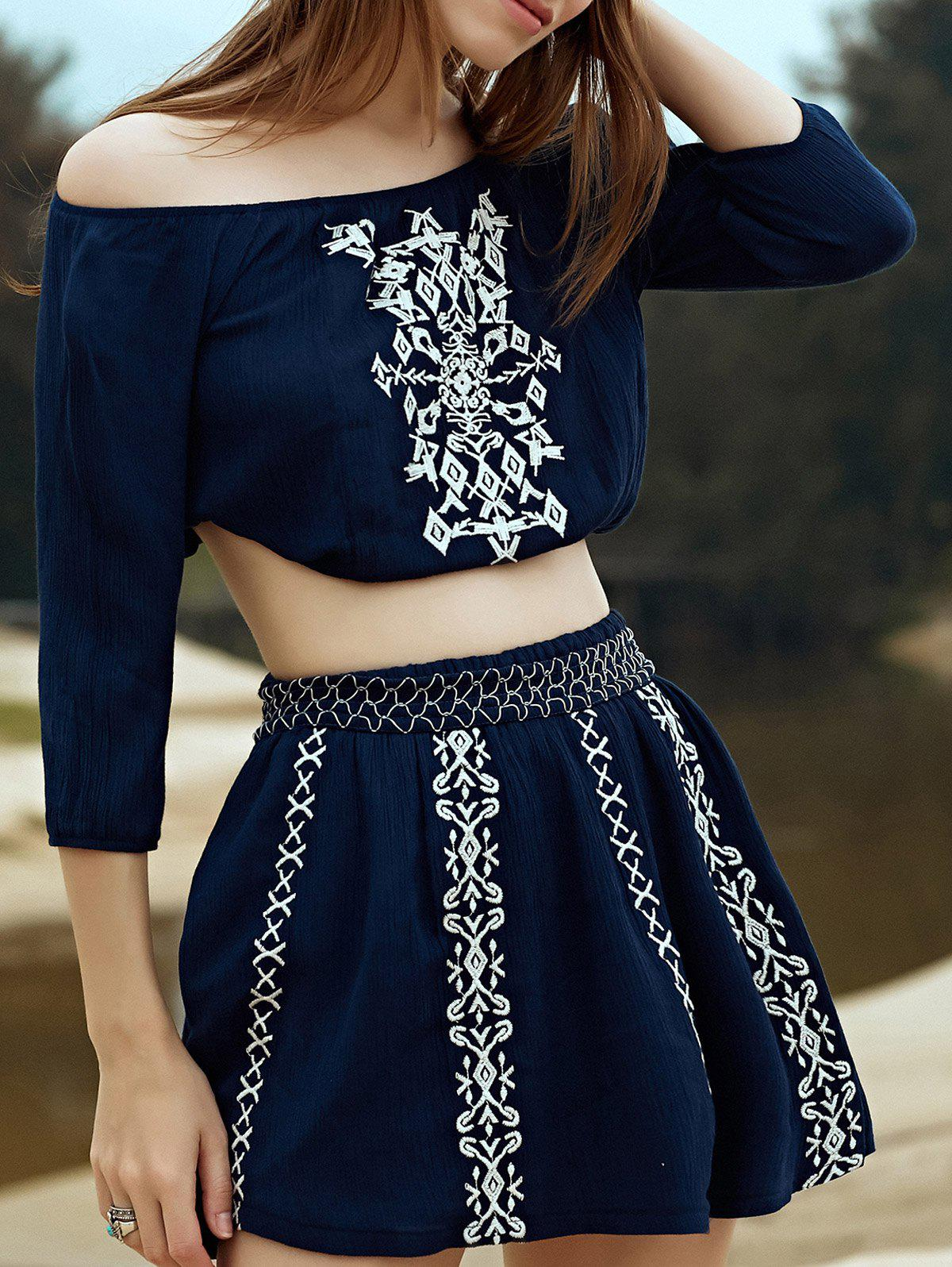 Stylish Off The Shoulder Embroidery Women's Two Piece Dress stylish off the shoulder flounced lace top and two layers red skirt women s two piece dress