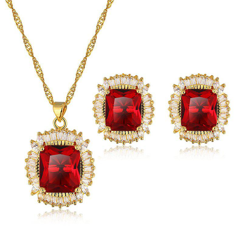 A Suit of Faux Ruby Zircon Geometric Necklace and Earrings - GOLD/RED