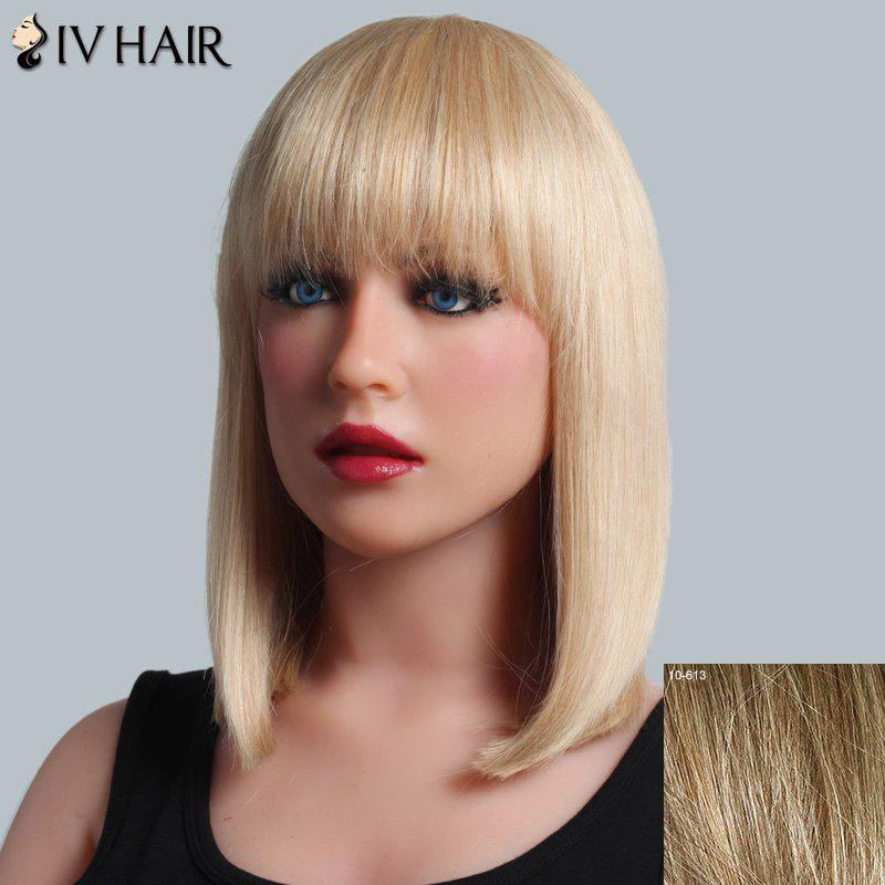 Trendy Full Bang Capless Siv Hair Medium Silky Straight Human Hair Wig For Women - LIGHT CHOCOLATE