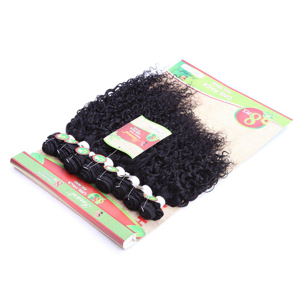 8Pcs/Lot Fluffy Jerry Curly Trendy Black 90 Percent Human Hair Blended Synthetic Hair Extension For Women - BLACK