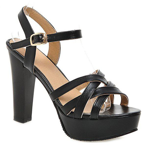 Fashionable Cross Straps and Solid Colour Design Women's Sandals - BLACK 35