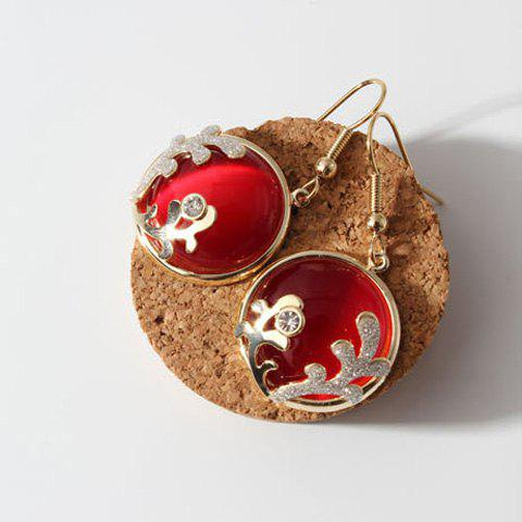 Pair of Gorgeous Faux Opal Rhinestone Drop Earrings For Women - RED