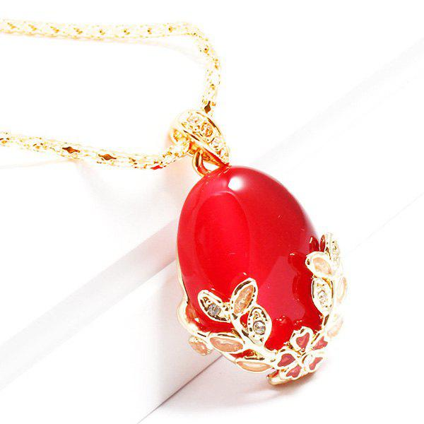 Gorgeous Faux Gem Flower Alloy Pendant Necklace For Women - RED