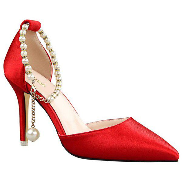 Stylish Satin and Beading Design Women's Pumps - RED 35