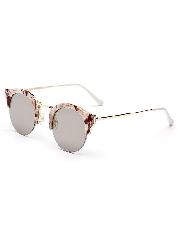 Chic Stone Pattern Semi-Rimless Frame Sunglasses For Women - COFFEE