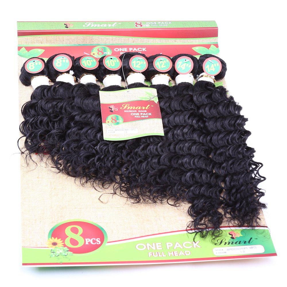 8Pcs/Lot Fluffy Curly Black 90 Percent Human Hair Blended Synthetic Hair Extension For Women - BLACK