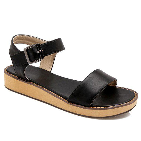 Simple Solid Color and Flat Heel Design Women's Sandals - BLACK 39