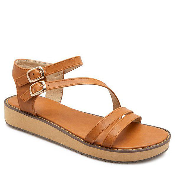 Retro Solid Color and Flat Heel Design Women's Sandals