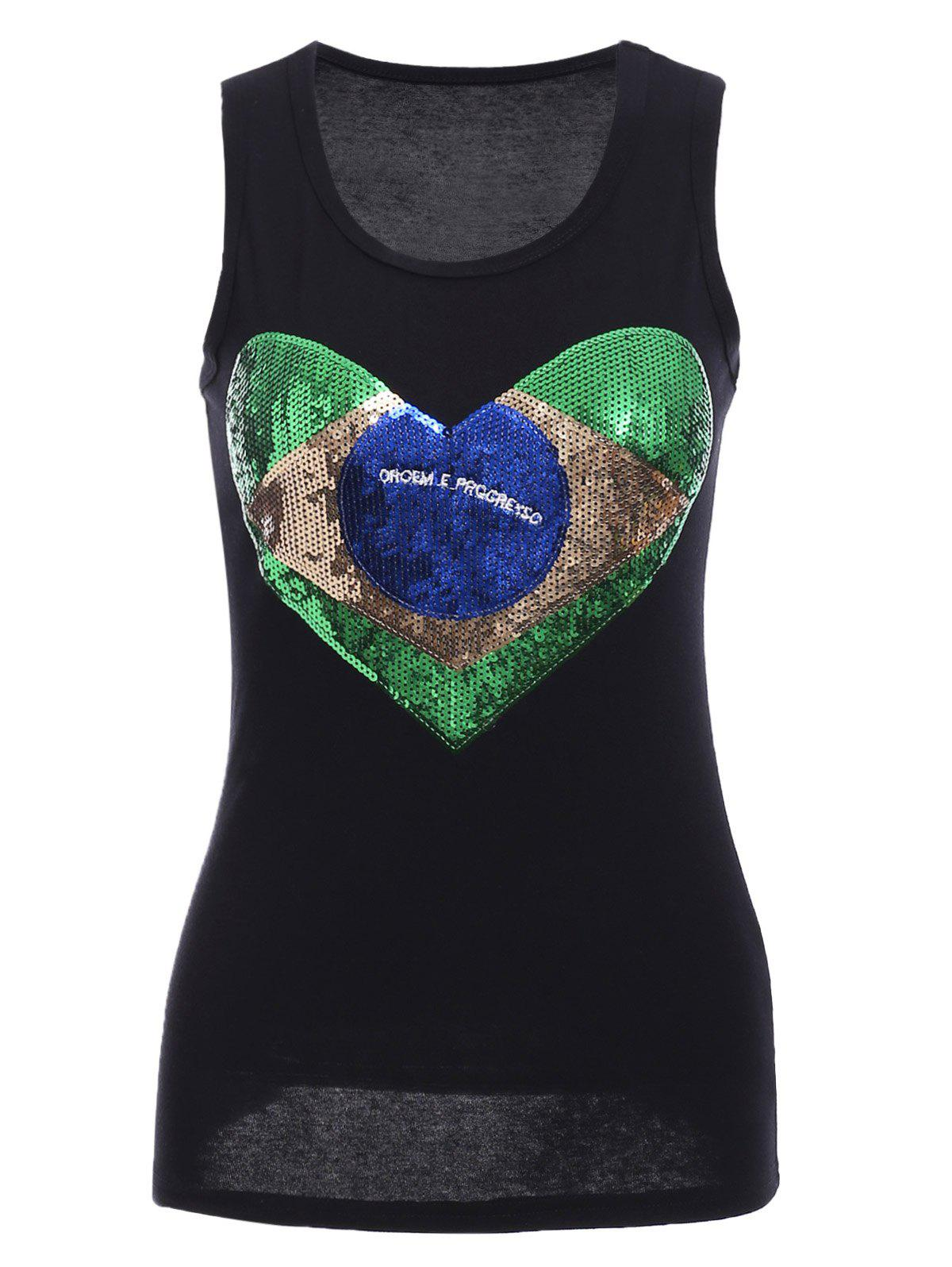 Stylish Heart Flag Print Tank Top For Women