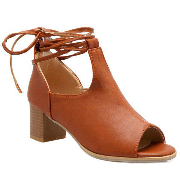 Trendy Chunky Heel and Lace-Up Design Women's Peep Toe Shoes - 39 BROWN
