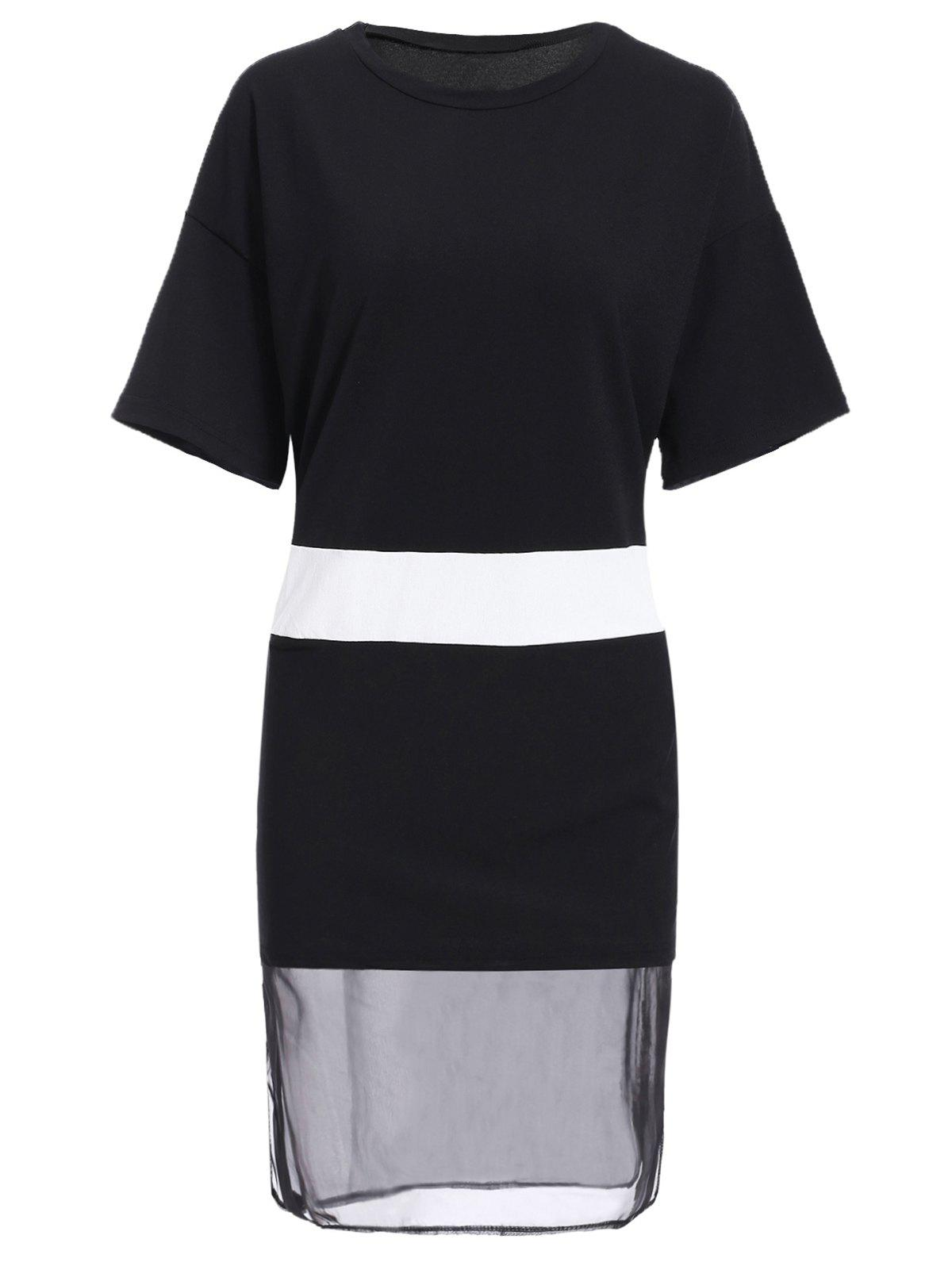 Casual Jewel Neck Short Sleeve Spliced Hit Color Dress For Women - BLACK ONE SIZE(FIT SIZE XS TO M)