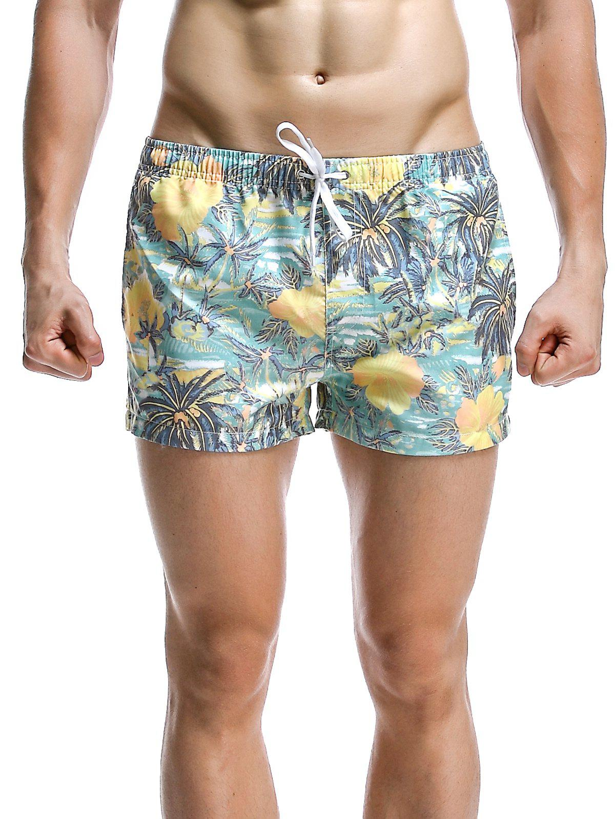 Men's Fashion Coconut Tree Printed Boardshorts - CYAN XL
