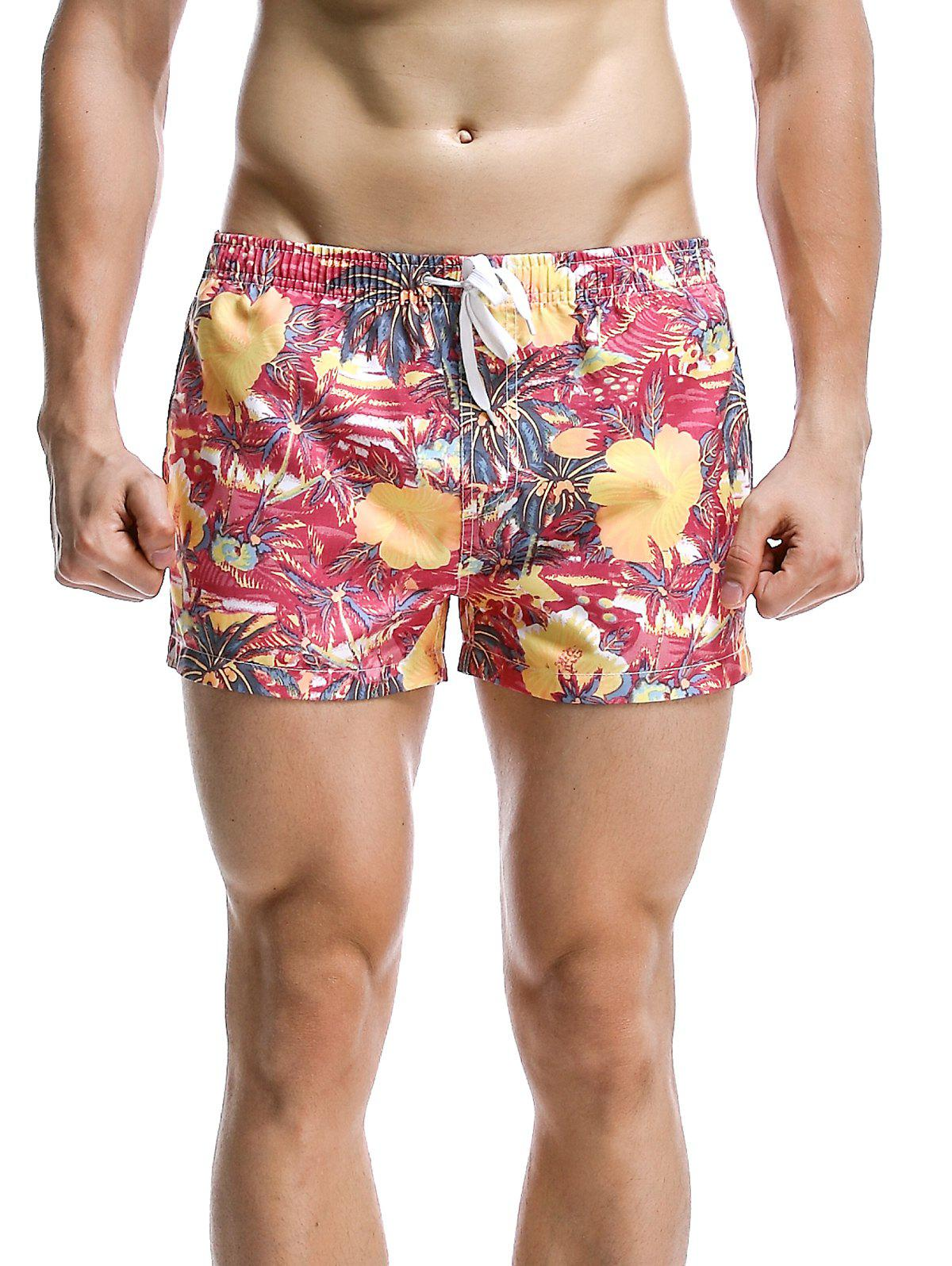 Men's Fashion Coconut Tree Printed Boardshorts - RED XL