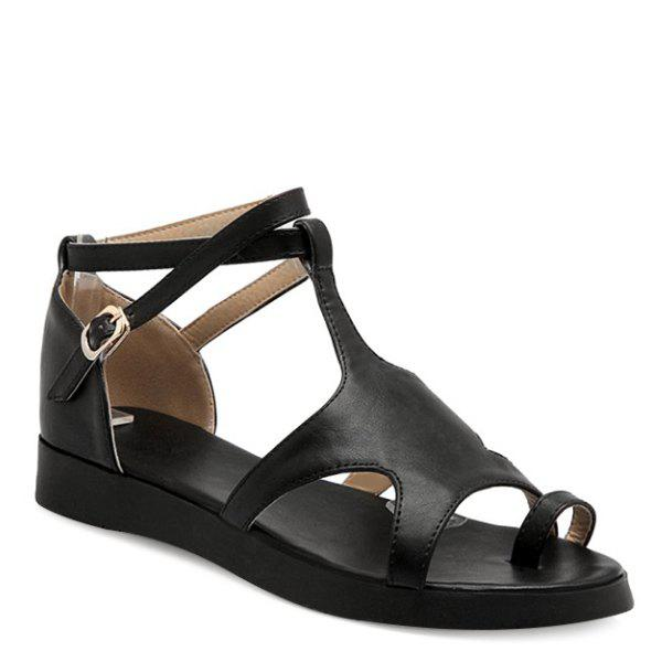 Sweet Solid Color and Toe Ring Design Women's Sandals - BLACK 38