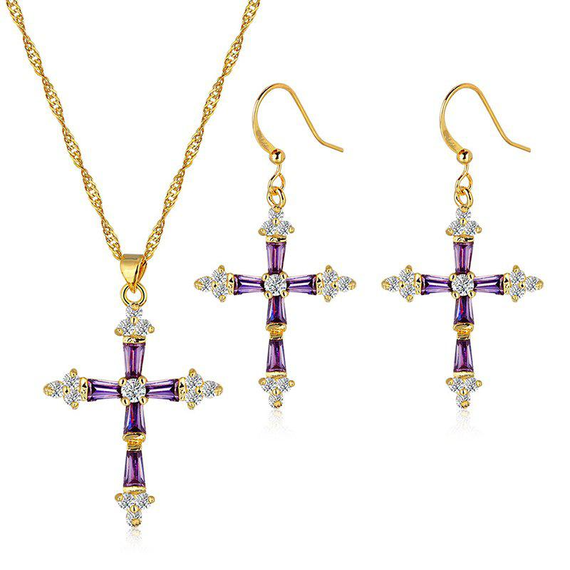 A Suit of Faux Gem Zircon Cross Necklace and Earrings - COLORMIX