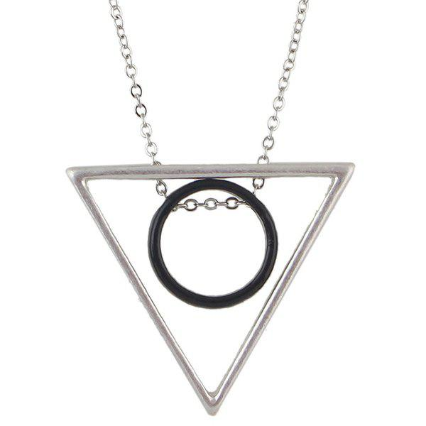Punk Style Triangle Circle Pendant Sweater Chain For Women - SILVER