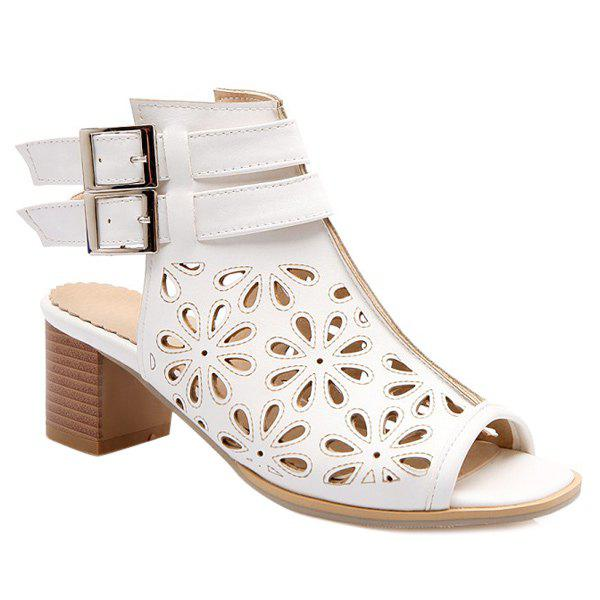 Fashionable Double Buckle and Hollow Out Design Womens SandalsShoes<br><br><br>Size: 38<br>Color: WHITE