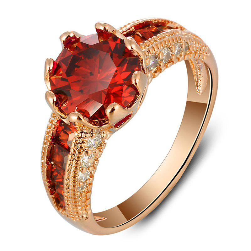 Artificial Ruby Alloy Ring - GOLD/RED