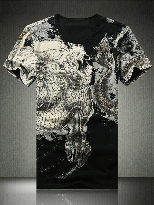 3D Golden Linellae Dragon Print Round Neck Short Sleeve Men's T-Shirt - BLACK XL