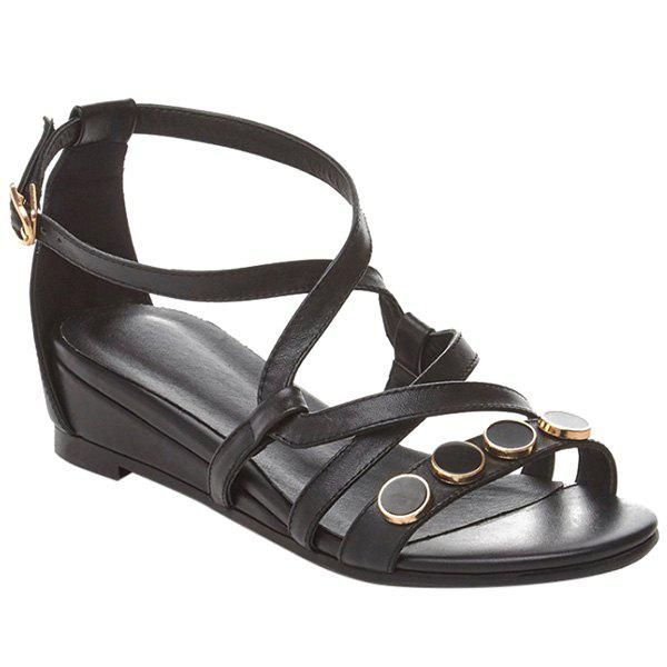 Casual Cross-Strap and PU Leather Design Women's Sandals - BLACK 37