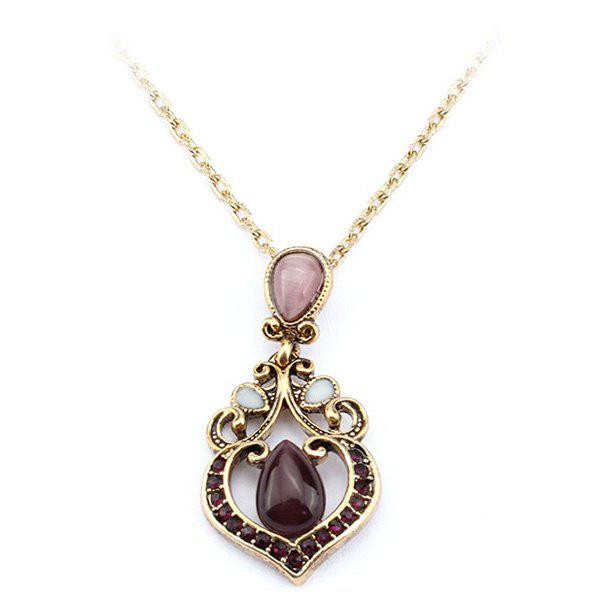 Retro Faux Amethyst Heart Shape Hollow Out Necklace For Women - AMETHYST