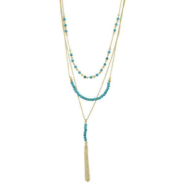 Graceful Multilayered Faux Turquoise Necklace For Women