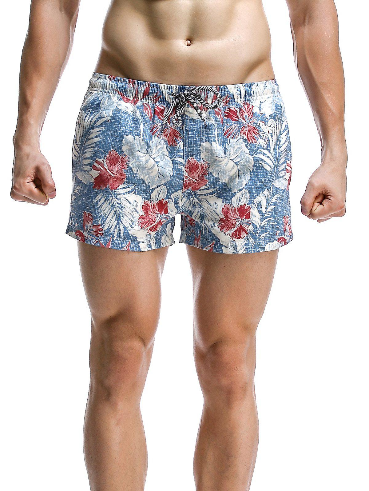 Men's Fashion Leaves Printed Boardshorts - LIGHT BLUE M