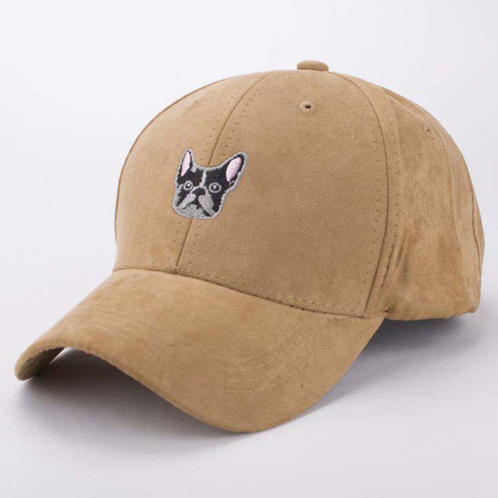 Stylish Cartoon Dog Head Embroidery Hot Summer Men's Suede Baseball Cap - LIGHT COFFEE
